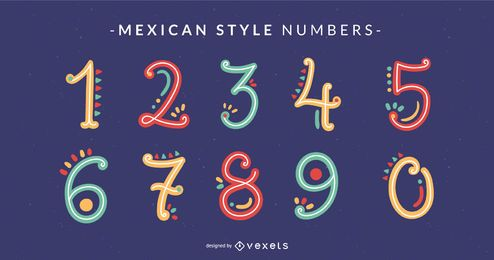 Paquete de números de alfabeto de estilo mexicano Doodle
