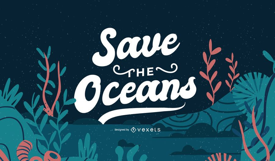 Save The Ocean Lettering Banner Design