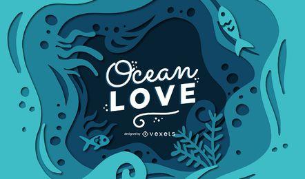 Projeto de banner de letras de amor de oceano