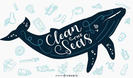 Limpe o banner de letras de baleia do mar