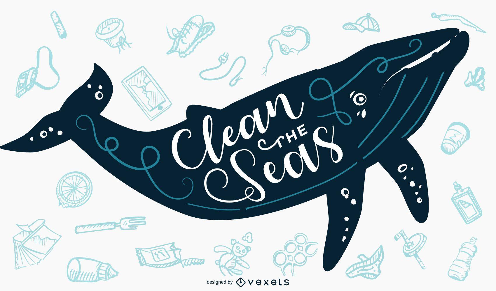 Limpiar la bandera de letras de ballena de mar