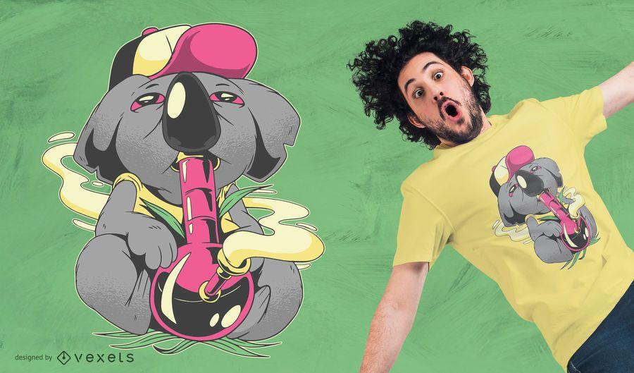 Koala Smoking Bong Design de Camiseta