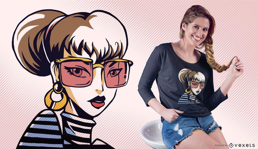 Stylish Girl Sunglasses T-shirt Design