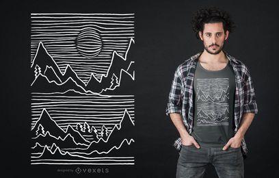 Projeto do t-shirt do curso da montanha 3D