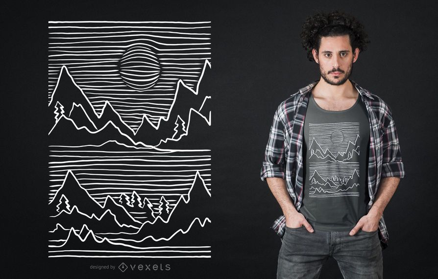 3D Mountain Stroke T-shirt Design