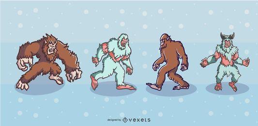 Conjunto de ilustrações de criaturas folclóricas
