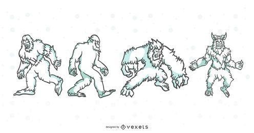 Conjunto de ilustração de traços de criaturas folclóricas