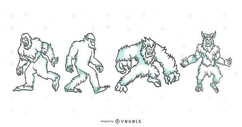 Folklore-Geschöpf-Anschlag-Illustrations-Satz