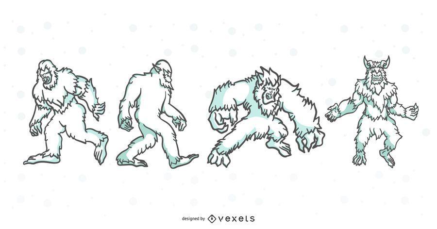 Folklore Creatures Stroke Illustration Set
