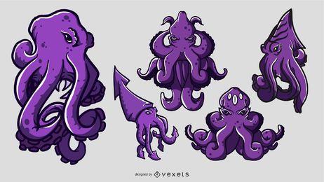 Conjunto de ilustración de dibujos animados de Kraken