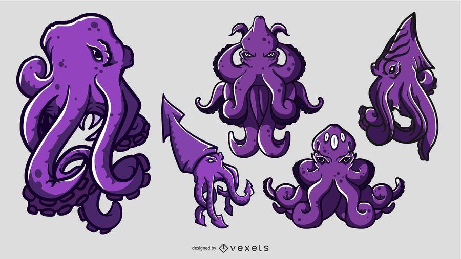 Kraken Cartoon Illustration Set