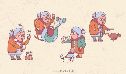 Pacote de ilustração de vovó feliz