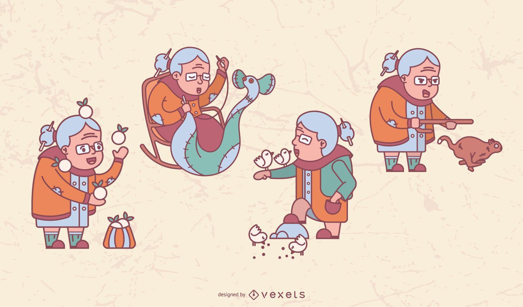 Pacote de Ilustração da Vovó Feliz