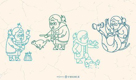 Pacote de ilustração de curso de avó feliz