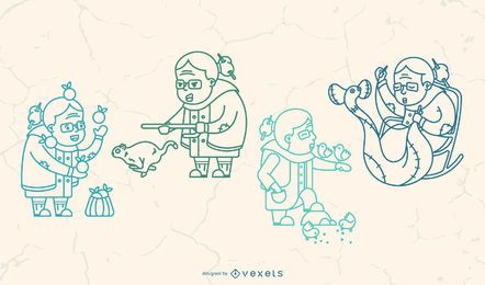 Paquete de ilustración de trazo de abuela feliz