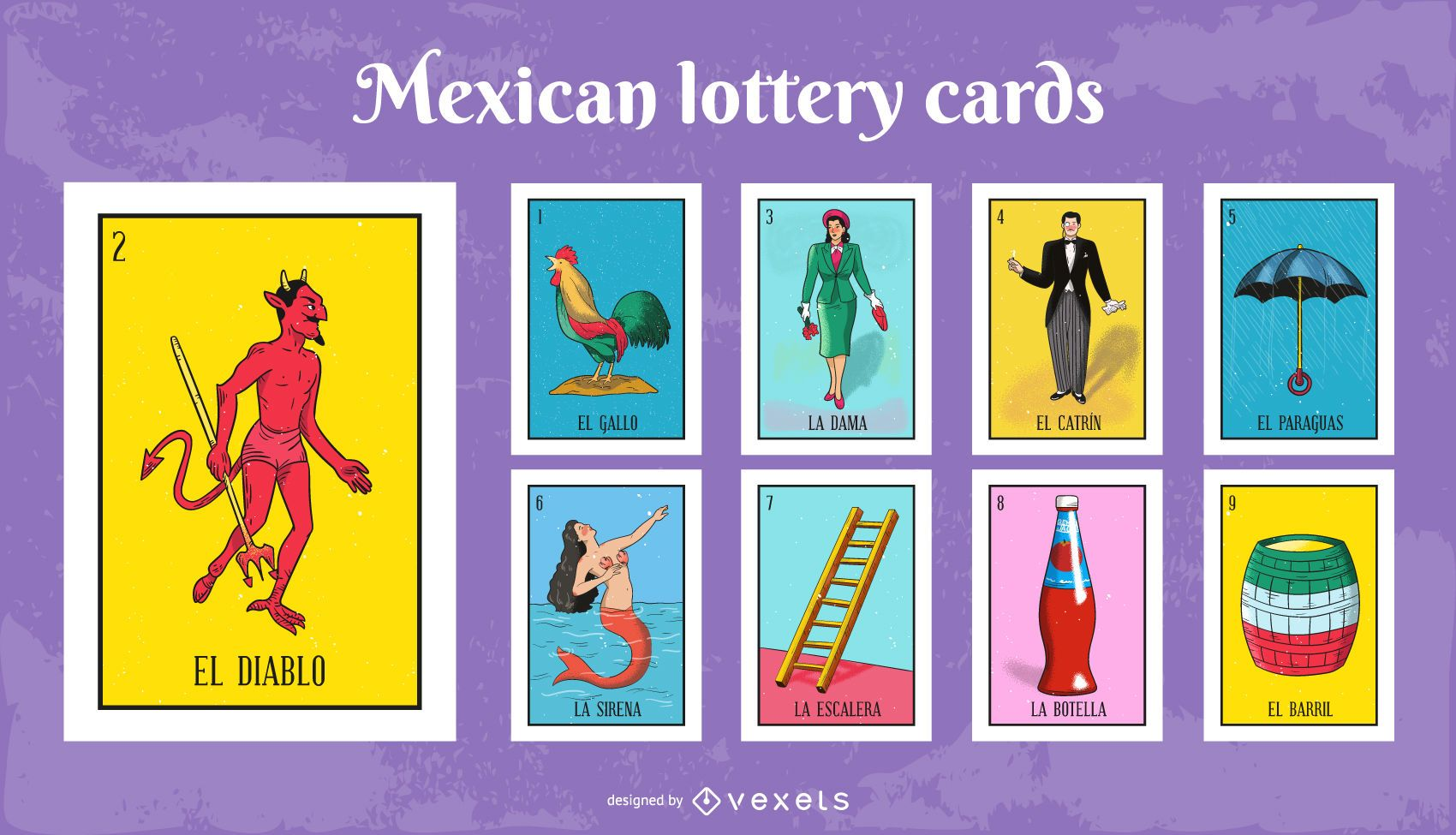 Mexican Lottery Cards Pack 1 Vector Download