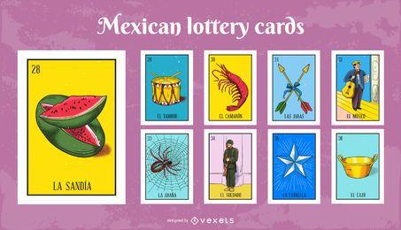 Conjunto de cartões de loteria mexicana