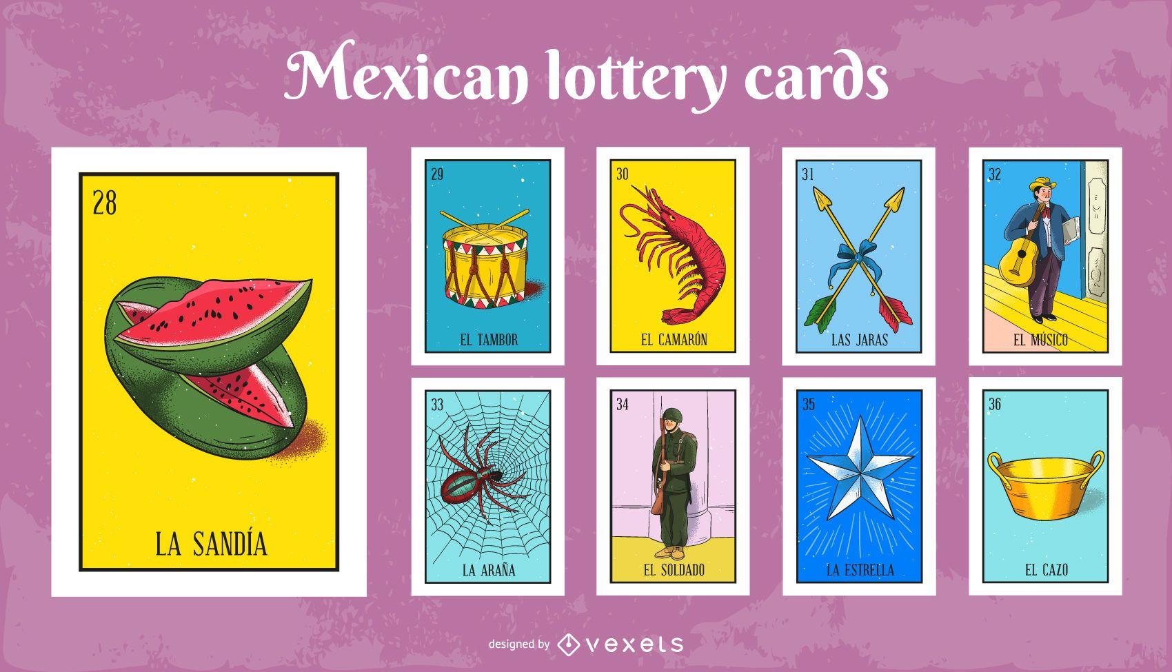 Conjunto de cartas de loteria mexicana