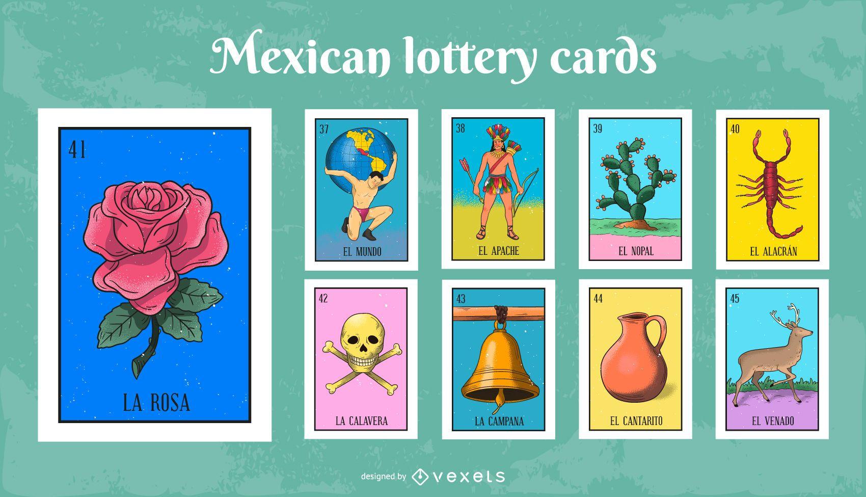 Conjunto colorido de cartas de loteria mexicana