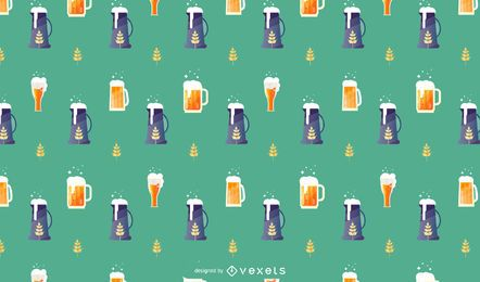 Oktoberfest Beer Vector Pattern