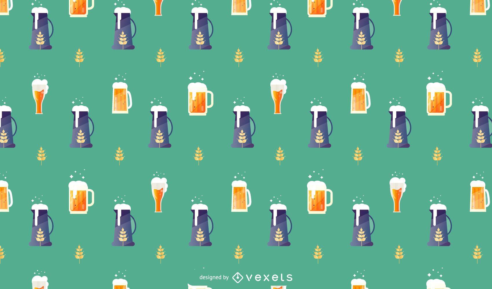 Oktoberfest Beer Vector Pattern