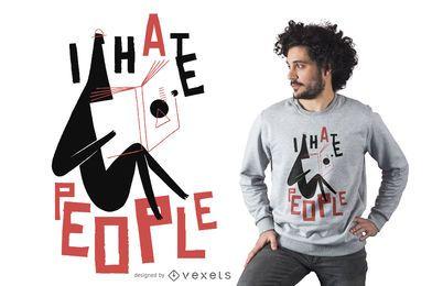 Odio a la gente diseño de camiseta