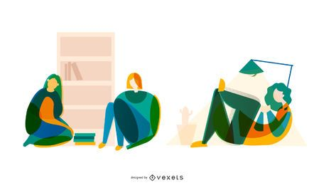 Conjunto de vectores de estudiantes abstractos
