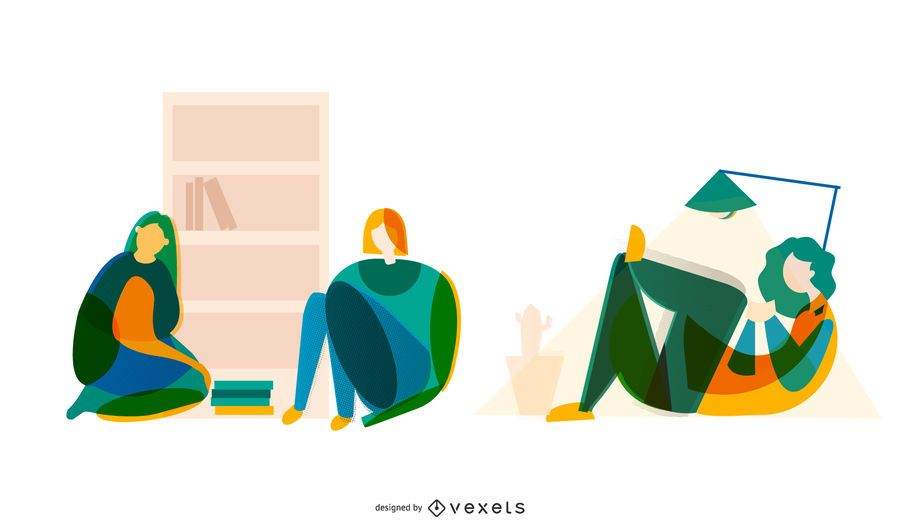 Abstract students vector set