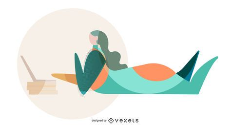 Girl studying abstract vector