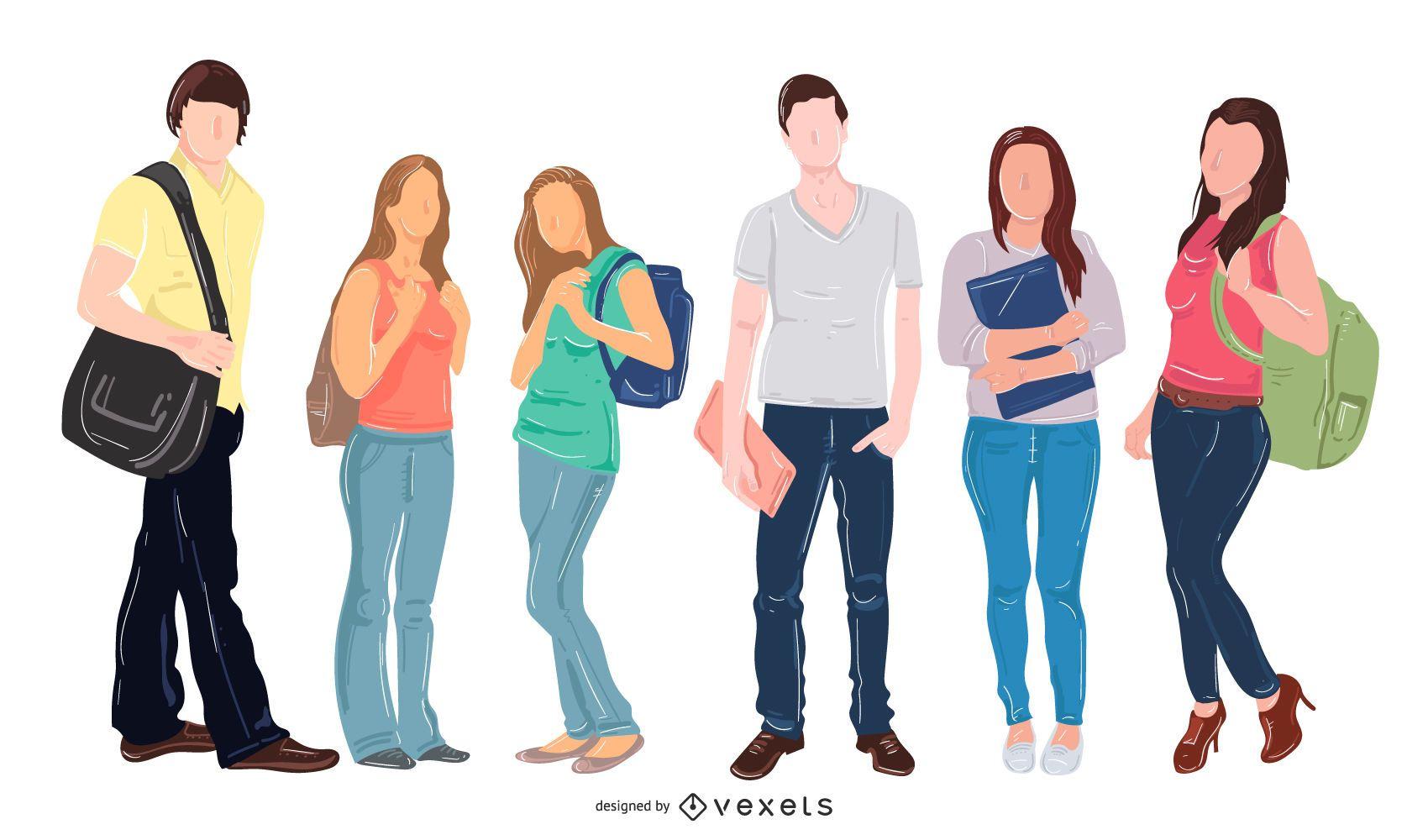 Teen students vector set