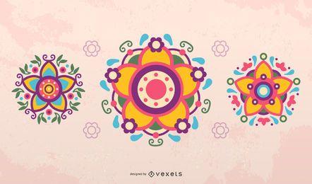 Conjunto de vectores de flores mexicanas