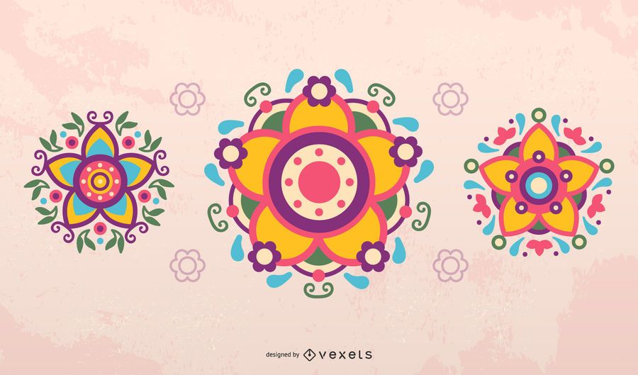 Mexican flowers vector set