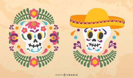 Sugar skulls vector set