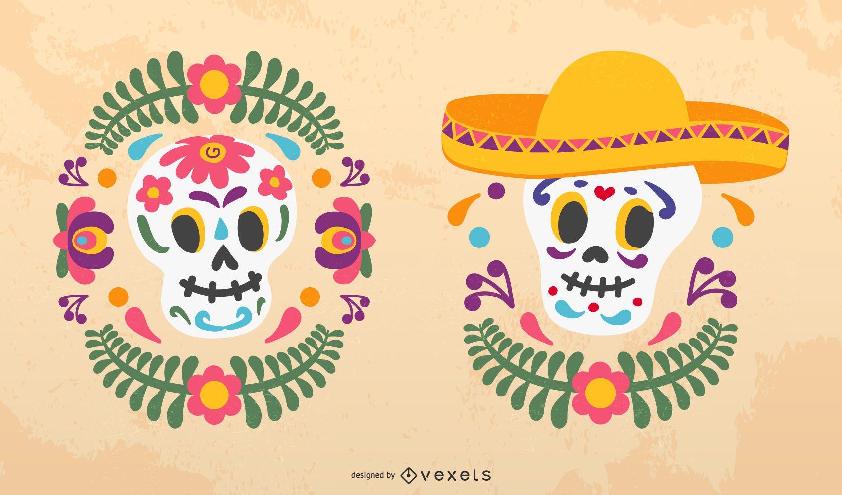 Sugar skulls vector set