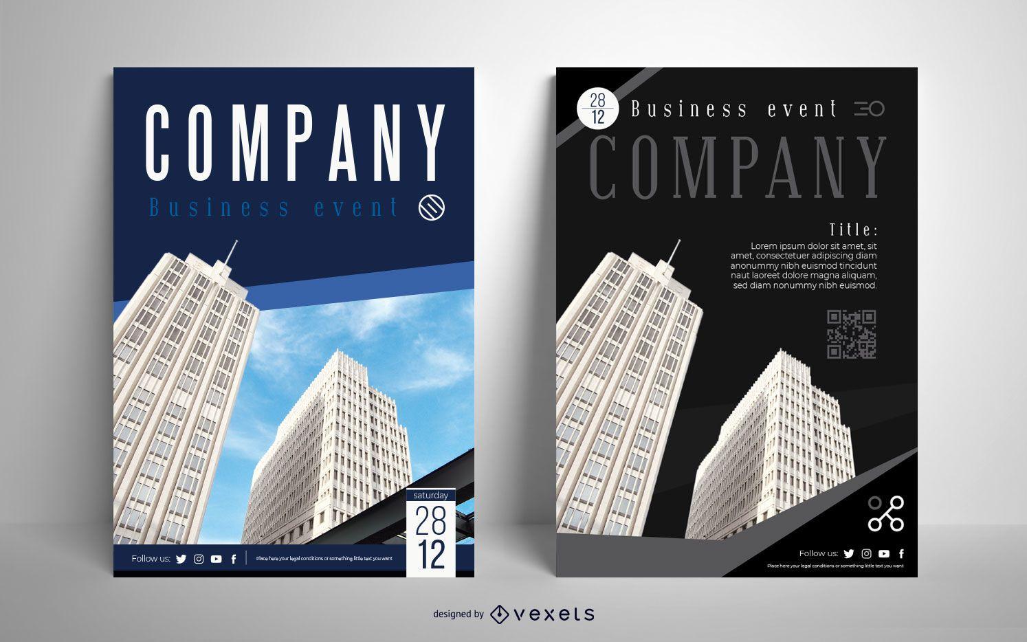 Conjunto de diseño de cartel editable de edificio de empresa