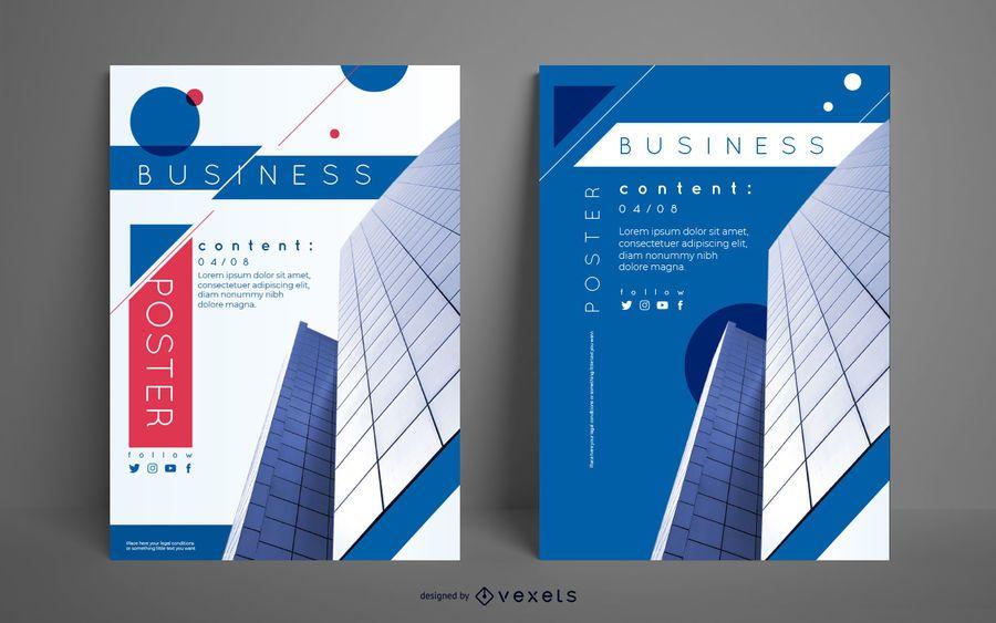 Conjunto de cartaz de construção de negócios