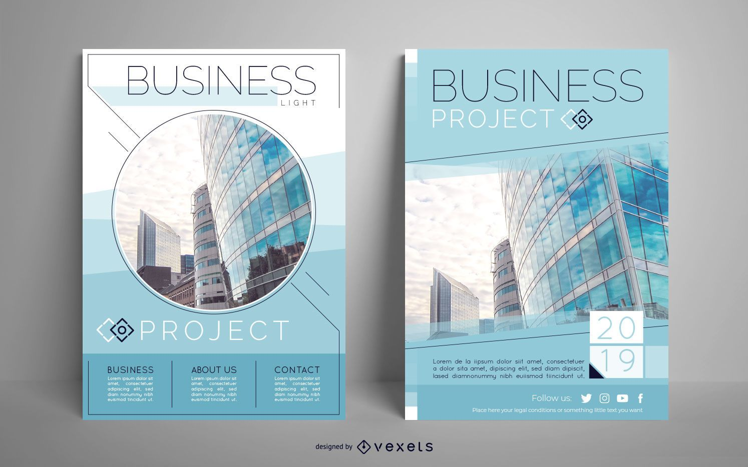 Conjunto de carteles editables de proyecto empresarial