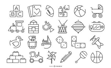 Children Toys Stroke Icon Set