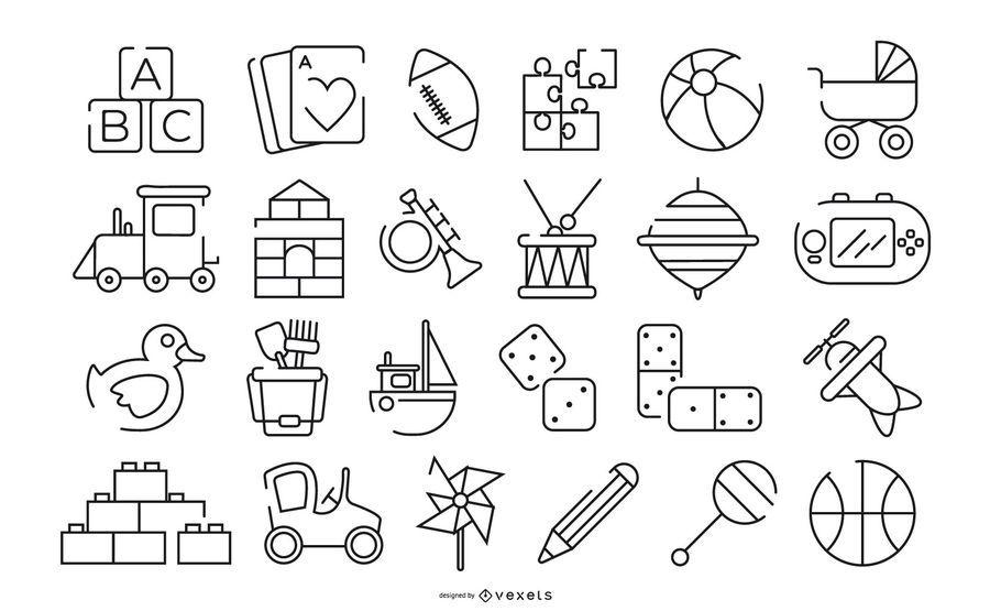 Conjunto de ícones de traçado de brinquedos para crianças