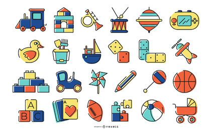 Farbiges Toy Icon Design Pack