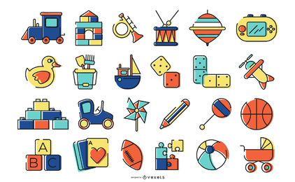 Pacote de design de ícones de brinquedos coloridos