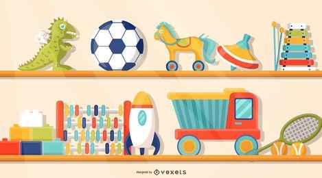 Juguetes en la ilustración de la estantería