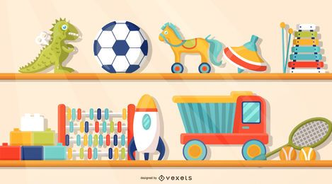 Toys on the Shelf Illustration