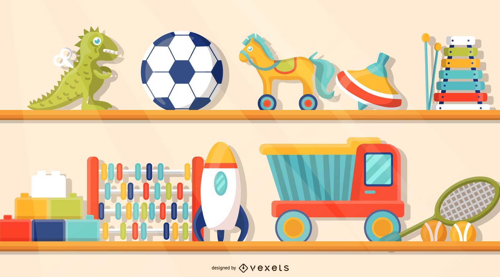 Toys on the Shelf Illustration