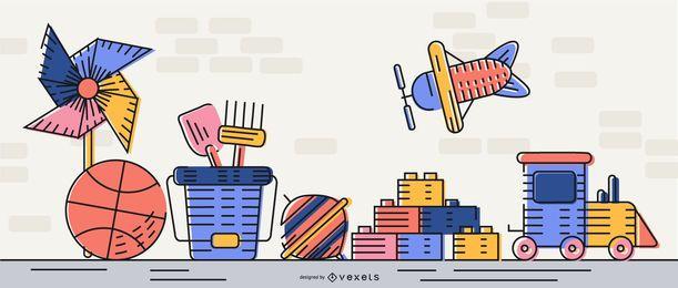 Diseño de ilustración de juguetes simples