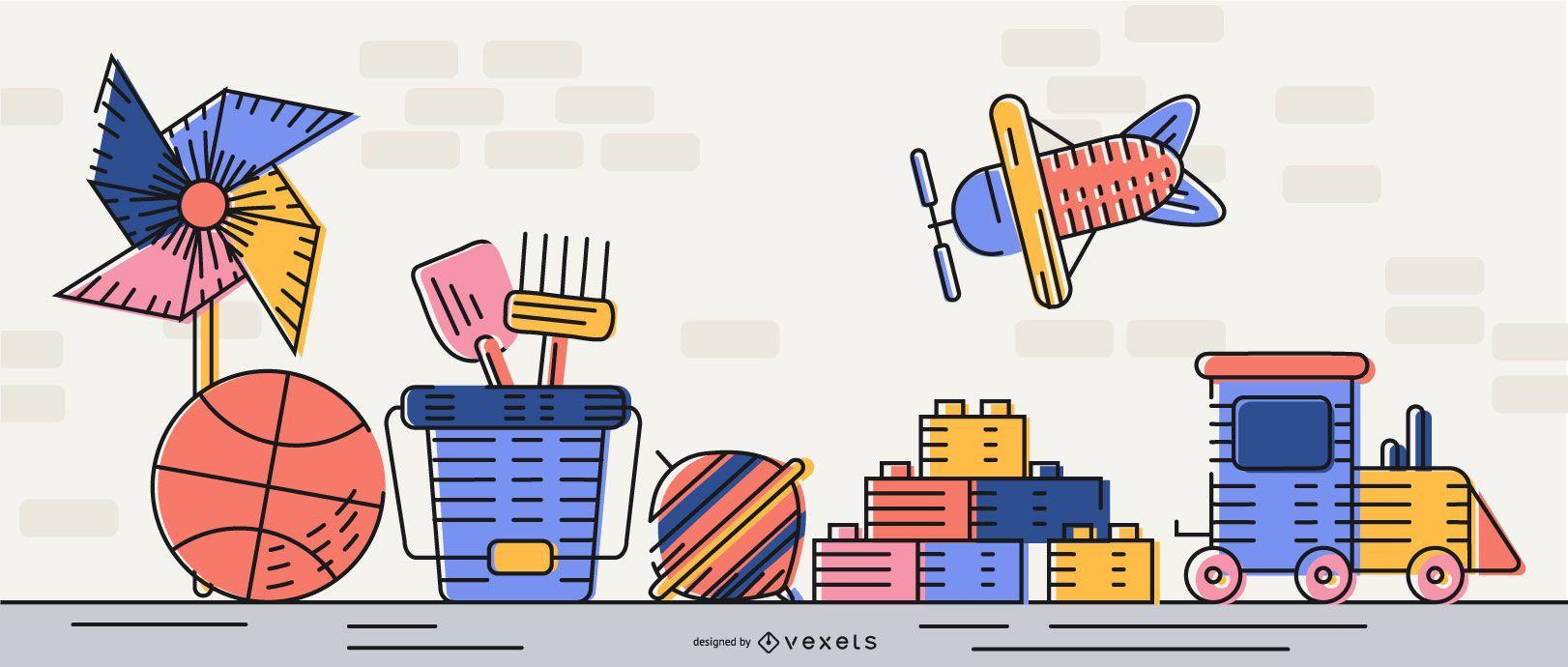 Simple Toys Illustration Design