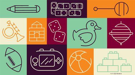 Composición vectorial de juguetes para niños