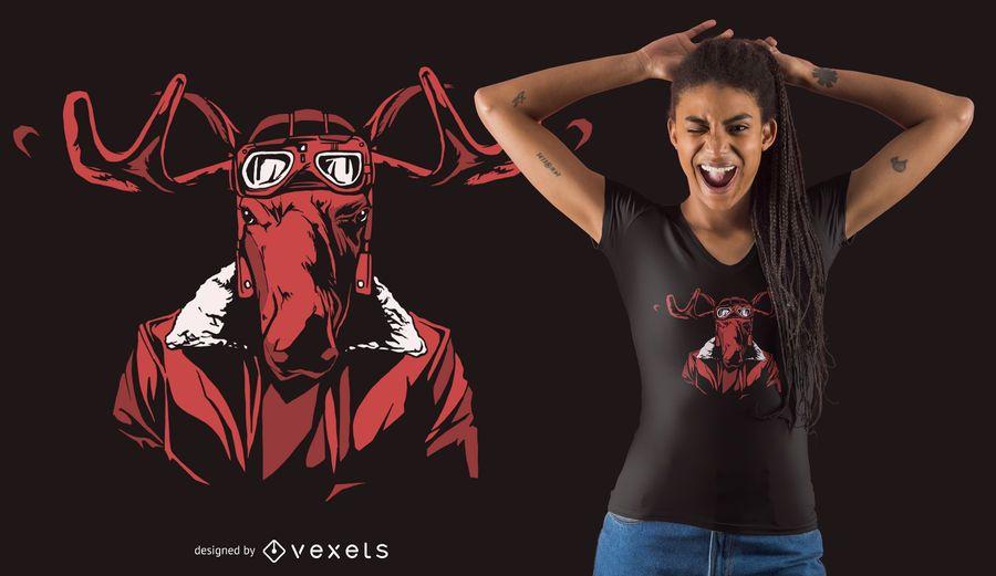 Projeto escuro do t-shirt dos alces