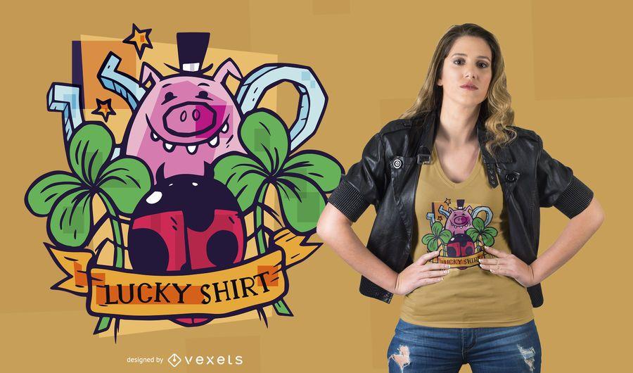 Projeto do t-shirt dos símbolos afortunados
