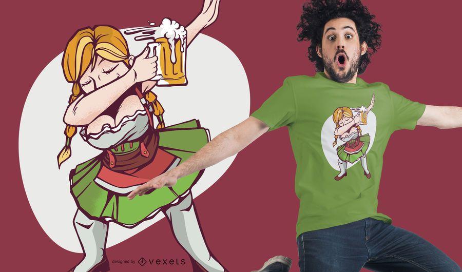Diseño de camiseta Oktoberfest Girl Dabbing
